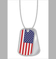 united states america flag on a steel dog tag vector image vector image