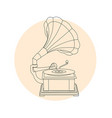 vintage gramophone outline - retro music turntable vector image vector image