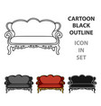 vintage sofa icon in cartoon style isolated on vector image vector image