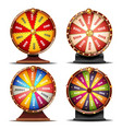 wheel of fortune set gamble chance leisure vector image