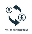 yen to british pound icon mobile app printing vector image vector image
