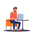 young man working in laptop freelance in cafe vector image