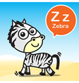 Z Zebra color artoon and alphabet for children to vector image vector image