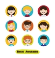 cute cartoon kids avatars set Children vector image
