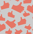 Thumbs up seamless pattern background hands vector image