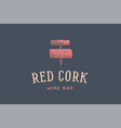 label of wine bar with corkscrew vector image
