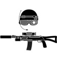 military helmet and assault rifle vector image
