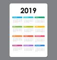 2019 calendar templatecalendar 2019 set of 12 vector image vector image