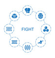 8 fight icons vector image vector image