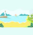 beach resort hotel on sea or ocean coast in summer vector image vector image