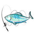 blue fish and fishing rod vector image