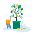 businesswoman take cash from tree with dollar vector image vector image