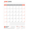 calendar template for 2018 year june business vector image vector image