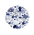 cartoon sea animals vector image