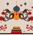 chinese dragon art poster vector image vector image