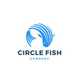 circle fish logo icon vector image vector image