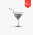 Cocktail glass with tube icon Flat design gray vector image vector image