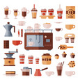 coffee set coffeemachine with coffeecups vector image