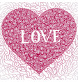 colorful doodle background heart valentines day vector image