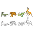 coloring page antilopa tiger varan boa vector image vector image