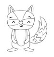 dotted shape cute and smile raccoon wild animal vector image vector image