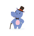 funny baby hippo character wearing top hat and bow vector image vector image