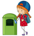 girl throwing bottle in trashcan vector image vector image