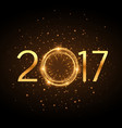 golden 2017 new year text with glowing glitter vector image vector image