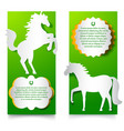 green vertical banners with jumping horse vector image vector image