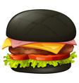 Hamburger with black bun vector image
