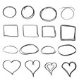 hand drawn circles squares and hearts icon set vector image