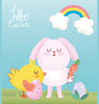 happy easter pink bunny chicken with eggs carrot vector image