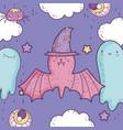 happy halloween celebration cute bat with hat vector image