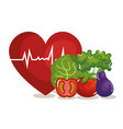heart cardio with vegetables icon vector image