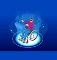 isometric man in a wheelchair using a ramp and man vector image vector image