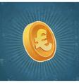 Retro Gold Euro Coin vector image vector image