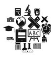 school icons set simple ctyle vector image