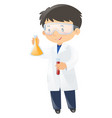 scientist holding two beakers vector image vector image