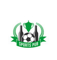 sport pub icon of beer and football or soccer ball vector image vector image