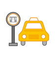 taxi service with hotel sign vector image vector image