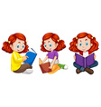 Three actions of girl reading book vector image vector image