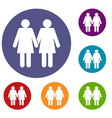 two girls lesbians icons set vector image vector image