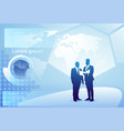 two silhouette businessman talking discussing vector image