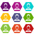 user icon set color hexahedron vector image vector image