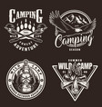 vintage monochrome camping badges vector image vector image