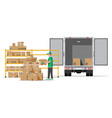 warehouse shelves with boxes truck and mover vector image