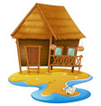 wooden cabin on island vector image vector image