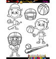 sport boy set cartoon coloring page vector image