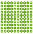 100 lab icons hexagon green vector image vector image