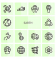 14 earth icons vector image vector image